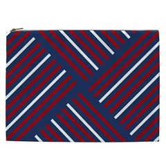 Geometric Background Stripes Red White Cosmetic Bag (XXL)