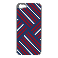 Geometric Background Stripes Red White Apple iPhone 5 Case (Silver)
