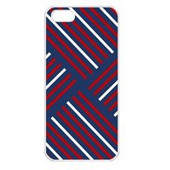 Geometric Background Stripes Red White Apple iPhone 5 Seamless Case (White)