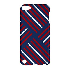 Geometric Background Stripes Red White Apple iPod Touch 5 Hardshell Case