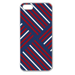 Geometric Background Stripes Red White Apple Seamless iPhone 5 Case (Clear)