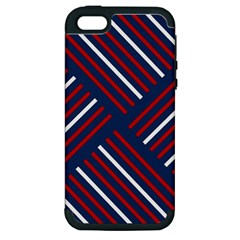 Geometric Background Stripes Red White Apple iPhone 5 Hardshell Case (PC+Silicone)