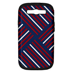 Geometric Background Stripes Red White Samsung Galaxy S III Hardshell Case (PC+Silicone)