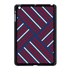 Geometric Background Stripes Red White Apple iPad Mini Case (Black)