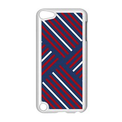 Geometric Background Stripes Red White Apple iPod Touch 5 Case (White)