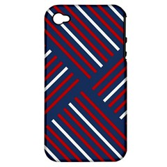Geometric Background Stripes Red White Apple iPhone 4/4S Hardshell Case (PC+Silicone)