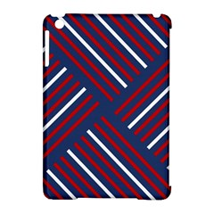 Geometric Background Stripes Red White Apple iPad Mini Hardshell Case (Compatible with Smart Cover)