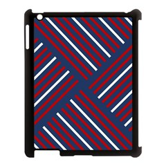 Geometric Background Stripes Red White Apple iPad 3/4 Case (Black)