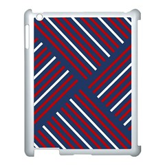Geometric Background Stripes Red White Apple iPad 3/4 Case (White)