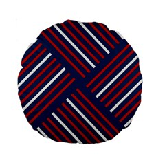 Geometric Background Stripes Red White Standard 15  Premium Round Cushions
