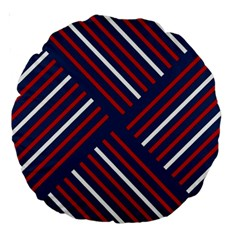 Geometric Background Stripes Red White Large 18  Premium Round Cushions