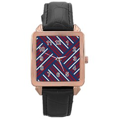 Geometric Background Stripes Red White Rose Gold Leather Watch