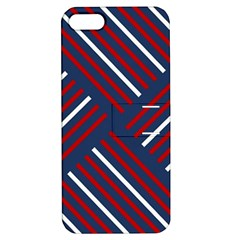 Geometric Background Stripes Red White Apple iPhone 5 Hardshell Case with Stand