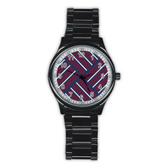 Geometric Background Stripes Red White Stainless Steel Round Watch