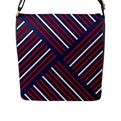 Geometric Background Stripes Red White Flap Messenger Bag (L)