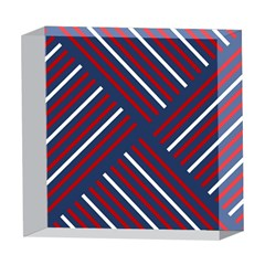 Geometric Background Stripes Red White 5  x 5  Acrylic Photo Blocks