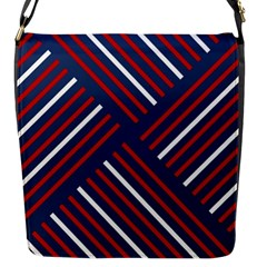 Geometric Background Stripes Red White Flap Messenger Bag (S)