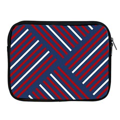 Geometric Background Stripes Red White Apple iPad 2/3/4 Zipper Cases