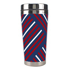 Geometric Background Stripes Red White Stainless Steel Travel Tumblers