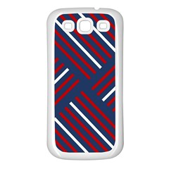 Geometric Background Stripes Red White Samsung Galaxy S3 Back Case (White)