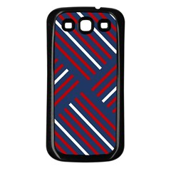 Geometric Background Stripes Red White Samsung Galaxy S3 Back Case (Black)