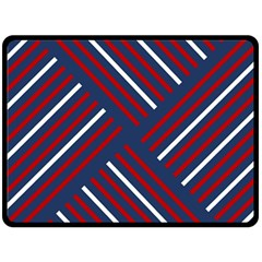 Geometric Background Stripes Red White Double Sided Fleece Blanket (Large)