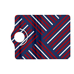Geometric Background Stripes Red White Kindle Fire HD (2013) Flip 360 Case