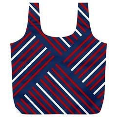 Geometric Background Stripes Red White Full Print Recycle Bags (L)