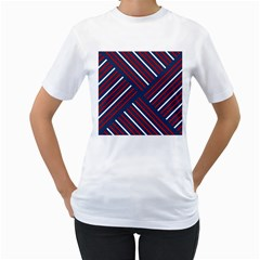 Geometric Background Stripes Red White Women s T-Shirt (White)