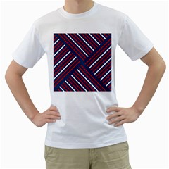 Geometric Background Stripes Red White Men s T-Shirt (White)
