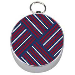Geometric Background Stripes Red White Silver Compasses