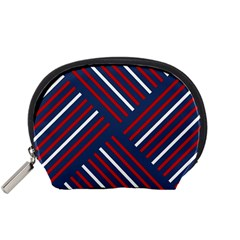 Geometric Background Stripes Red White Accessory Pouches (Small)