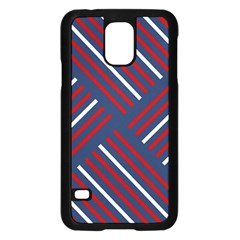 Geometric Background Stripes Red White Samsung Galaxy S5 Case (Black)