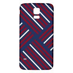 Geometric Background Stripes Red White Samsung Galaxy S5 Back Case (White)