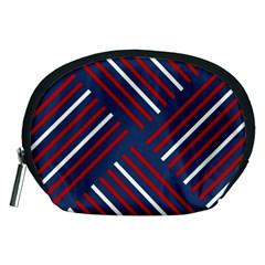 Geometric Background Stripes Red White Accessory Pouches (Medium)