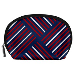 Geometric Background Stripes Red White Accessory Pouches (Large)