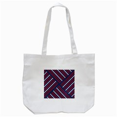 Geometric Background Stripes Red White Tote Bag (White)