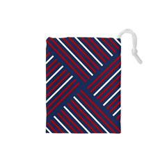 Geometric Background Stripes Red White Drawstring Pouches (Small)