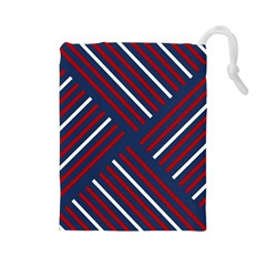 Geometric Background Stripes Red White Drawstring Pouches (Large)
