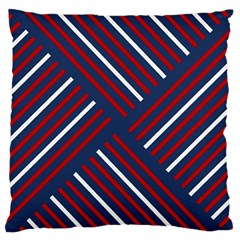 Geometric Background Stripes Red White Large Flano Cushion Case (One Side)