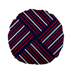 Geometric Background Stripes Red White Standard 15  Premium Flano Round Cushions
