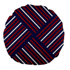 Geometric Background Stripes Red White Large 18  Premium Flano Round Cushions