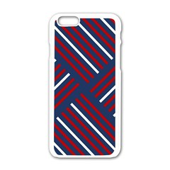 Geometric Background Stripes Red White Apple iPhone 6/6S White Enamel Case