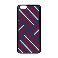 Geometric Background Stripes Red White Apple iPhone 6/6S Black Enamel Case
