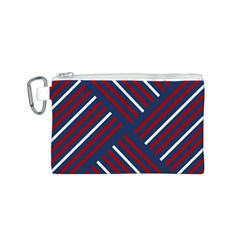 Geometric Background Stripes Red White Canvas Cosmetic Bag (S)