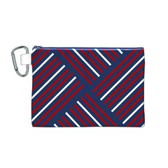 Geometric Background Stripes Red White Canvas Cosmetic Bag (M)