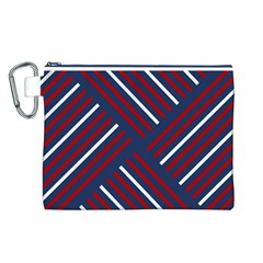 Geometric Background Stripes Red White Canvas Cosmetic Bag (L)