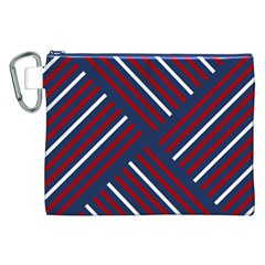 Geometric Background Stripes Red White Canvas Cosmetic Bag (XXL)
