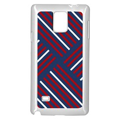 Geometric Background Stripes Red White Samsung Galaxy Note 4 Case (White)