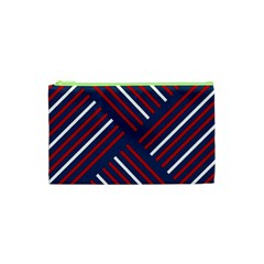 Geometric Background Stripes Red White Cosmetic Bag (XS)